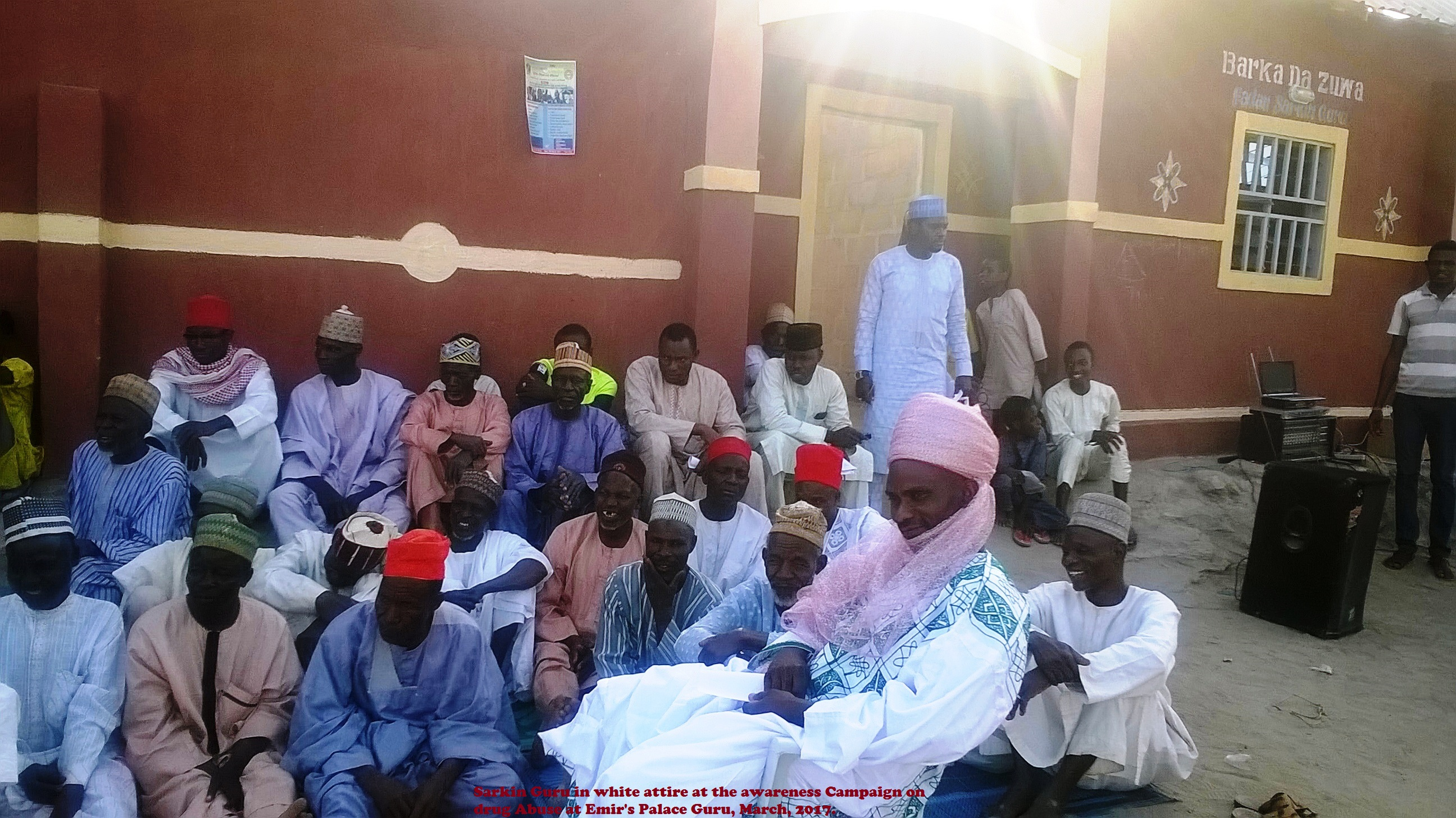 Sarkin Guru in white attire at the awareness Campaign on drug Abuse at Emir's Palace Guru, March, 2017.